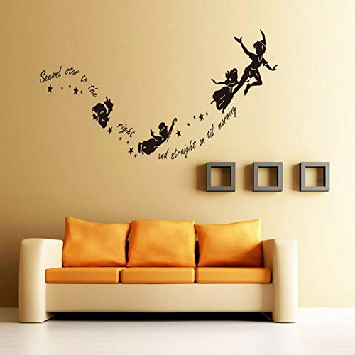 Wandaufkleber Fliegende Hexen zu Hause Wandtattoo zweiter Stern auf der rechten Vinyl-Wandaufkleber Halloween-Dekoration 57X29cm (Fliegende Hexe Halloween-dekoration)