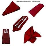 6 Edel Stoff Servietten / in dunkel rot / Weinrot / quadratisch / 45 cm x 45 cm / Stoffservietten rot Großpack Six Pack / waschbar - 5
