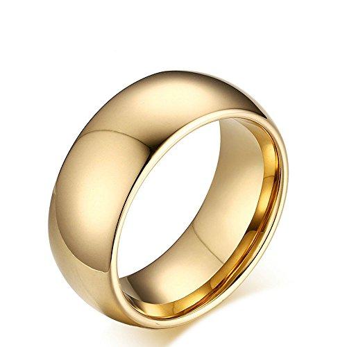 Ueice Herren 8mm Classic High Polished Vergoldet Comfort Fit gewölbte Wolfram Metall Ring - Ring Leader Kostüm