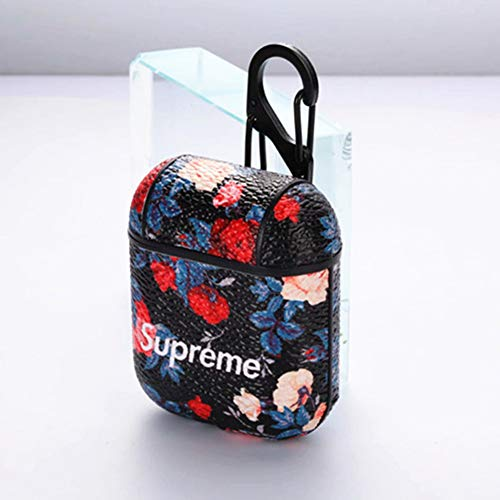 Printed Flower Leather Surface Case Shockproof Skin Street Fashion  Protective Cover Compatible with Apple Airpods 1 & 2 (Front LED Not Visible  for