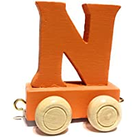 Buchstabenzug bunt | bunte Lok - farbige Waggons | Wunschname zusammenstellen | Holzeisenbahn | EbyReo® Namenszug aus Holz | personalisierbar | auch als Geschenk Set | rot, grün, orange, blau, türkis, petrol |