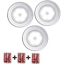 LIVHÒ | Lampara nocturna LED con 3PCS y sensor de movimiento - Luz por armario, escaleras, baño, cocina, habitación - con 3 barras adhesivas para colgarle sobre cada pared
