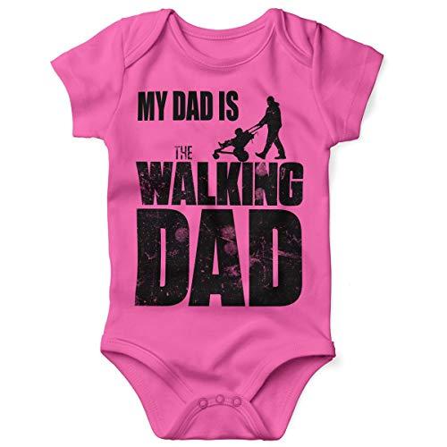 Mikalino Babybody mit Spruch für Jungen Mädchen Unisex Kurzarm My Dad is The Walking Dad | handbedruckt in Deutschland | Handmade with Love, Grösse:80, Farbe:pink (Halloween Dead Kostüm-ideen Für)