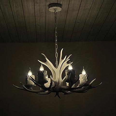Shengdi cuerno de ciervo 6-Light hierro industrial lámpara del vintage de la lámpara de techo accesorio de iluminación para el restaurante Balcón Dormitorio Sin pantalla 1027C-6-3es (White)
