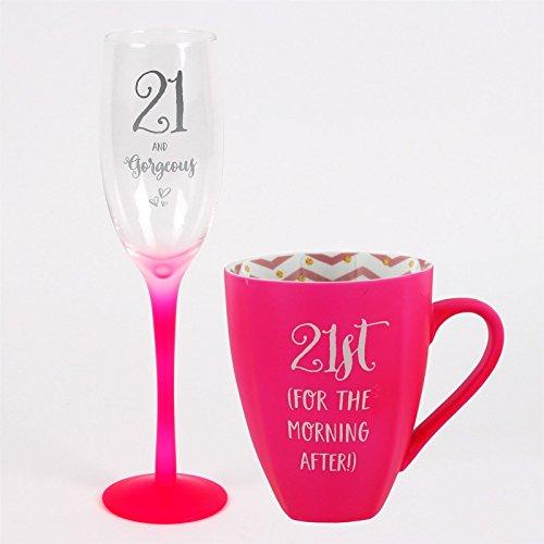 Girls Talk Flûte à Champagne et Rose Mug Coffret Cadeau pour 21e Anniversaire