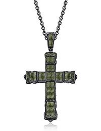Silvernshine 1CT Round Peridot Sim Diamonds Jesus Cross Pendant Charm In 14K Black Gold Finish