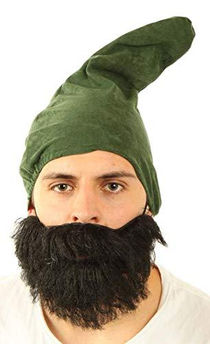 7 Zwerge Set Mütze Bart Zwergenmütze Zwergenbart (Grün) (Sieben Zwerge Kostüm Frauen)