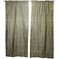 Mogul Interior 2 Indian Sari Curtain Drape Grey Window Treatment Home Decor 96x44