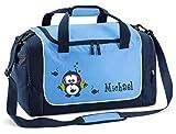 Mein Zwergenland Sporttasche in SkyBlue mit Namen, 38 L, Eule 24