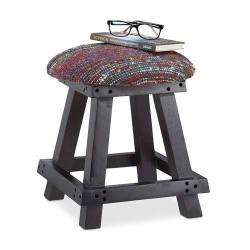 Relaxdays Sitzhocker rund, 4-beiniger Polsterhocker, handgefertigter Fußhocker aus Holz, HxBxT: 40 x 33 x 33 cm, bunt