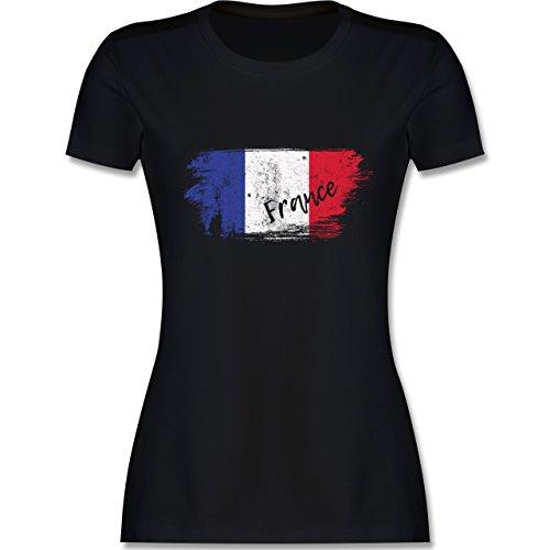 Fußball-Europameisterschaft 2020 - Frankreich Vintage - XL - Schwarz - L191 - Damen T-Shirt Rundhals