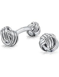 Bling Jewelry Gemelos para Hombre Plata de Ley con Nudos de Amor Doble Cara
