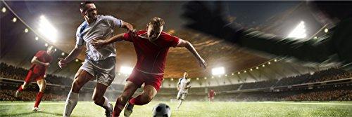 Fußball Zweikampf Stadion XXL Panorama Wandtattoo Bild Poster Aufkleber W0038 Größe 300 cm x 100 cm -