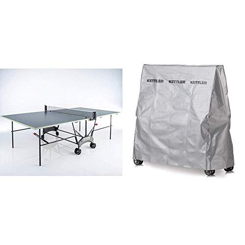 Kettler Tischtennisplatte AXOS Outdoor 1- rollbarer TT-Tisch für draußen - wetterfeste Alu-Light-Verbundplatte - grau/gelb & Abdeckhaube Tischtennisplatte - Outdoor Abdeckung Tischtennis - Silbergrau