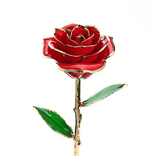 Homgrace rosa regalo fiore placcato 24k oro, rose con scatola regalo e clear display stand, ottimo regalo per san valentino, la festa della mamma, anniversario, compleanno, matrimonio (rosso)