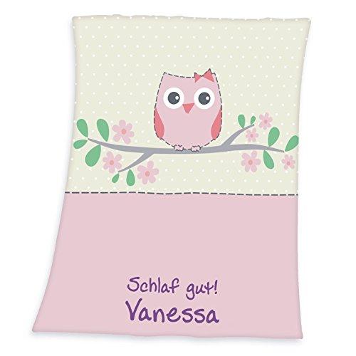 Wolimbo Flausch Babydecke mit Ihrem Wunsch-Namen und Eulen Motiv - personalisierte/individuelle Geschenke für Babys und Kinder zur Geburt, Taufe und Geburtstag - 75x100 cm für Mädchen und Jungen