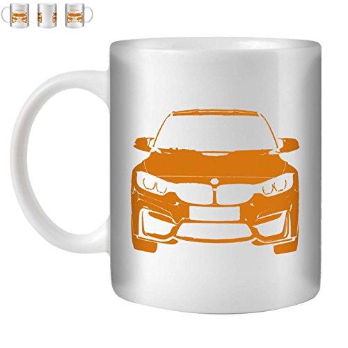 STUFF4 Tasse de Café/Thé 350ml/Orange/M3 F80/Céramique Blanche/ST10