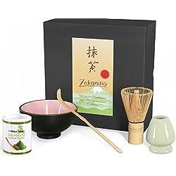Bio Matcha Komplett Set 5-teilig, Schale rosa, mit Bambuslöffel, Bambusbesen, Besenhalter und 30g Bio Matcha Tee, alles in eleganter Geschenkbox, Original Aricola®