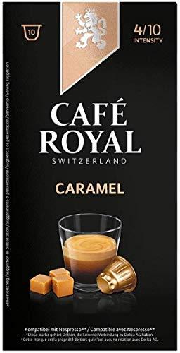 Café Royal Flavoured Edition Caramel 100 cápsulas compatibles con Nespresso* - Intensidad: 4/10 - 10 x Pack de 10 cápsulas - para el sistema Nespresso - UTZ 100 % Arábica