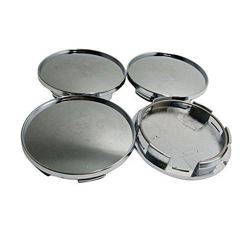 GAOHOU® 4 x Universal 68mm Chrom Auto Rad Kappe Radkappen Abdeckung Silber