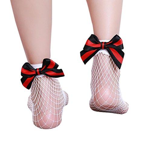 Trada Socken, Frauen Mädchen Mode Bow Fischnetz Socken Rüschen Fischnetz Knöchel Hohe Socken Mesh Lace Fisch Net Dünnen Elastischen seidigen Kurze Socken Spitzen Söckchen (Weiß) (Rüschen Rot Socke)