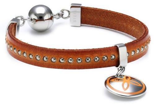Esprit Damen Armband Edelstahl Leder 19 cm orange ESBR11435B190
