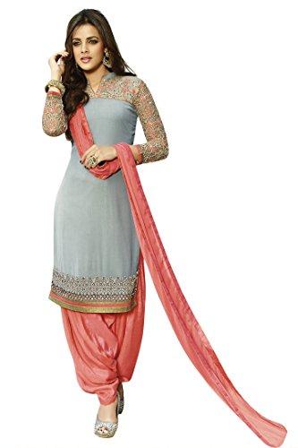 Kvsfab Women\'s Georgette Salwar Suit Dress Material(KVSSK3056ZOYA_1_Grey)