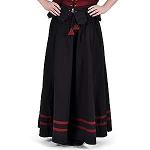 Grandeur Nature - Jupe Longue Médiévale - Coton Epais - Noir/Rouge
