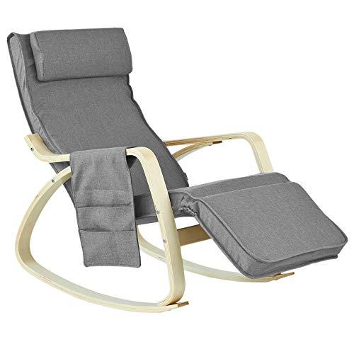 SoBuy® Schaukelstuhl mit Tasche (verstellbares Fußteil),Schwingsessel,Relaxsessel,Belastbarkeit 150kg, FST18-DG