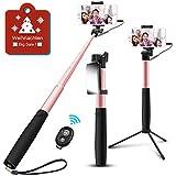 Agedate Selfie Stick Bluetooth, Ausziehbar Selfie Stangen Stativ mit Spiegel, Drahtsteuerung und Bluetooth Fernauslöser Doppelzweck, Kompatibel mit mehr Smartphones