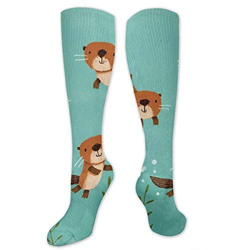 Gped Kniestrümpfe,Socken Happy Otters Compression Socks,Knee High Socks,Funny Socks for Women Men - Best Medical,Sports,Running, Nurses,Maternity,Pregnancy,Travel & Flight - Otter Kostüm Muster