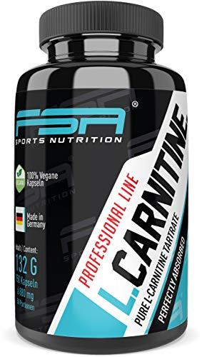 L-Carnitin Tartrat hochdosiert 150 Kapseln, 735 mg L-Carnitin Tartrat pro veganer Kapseln ohne Zusätze - von der Profisport-Marke FSA Nutrition, Hergestellt in Deutschland