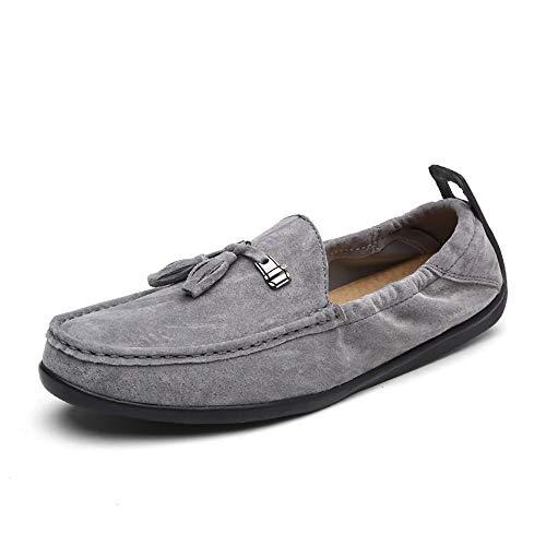 HYF Driving Loafer für Männer Moderne handgefertigte Schuhe Boot Mokassins Slip On Style Schweinsleder Classic Fringe Leichte Flexible Schuhe anziehen (Color : Grau, Größe : 40 EU) - Groß Fringe Boot