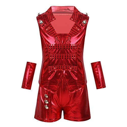 dPois Kinder Mädchen Jungen Glänzend Pailletten Hiphop Jazz Kleidung Outfit Tanzkostüm Tanzbekleidung Verkleidung Fasching Karneval Kostüm Rot 152-164/12-14Jahre
