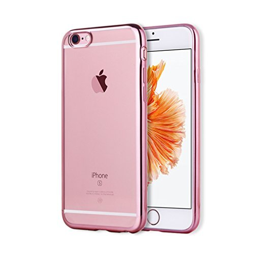 Aursen® TPU Handy Case Schutz Hülle Bumper für iPhone 6 Plus /6S Plus Silber - transparent + Folie Rosa