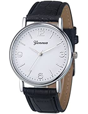 XLORDX Geneva Uhren,Mode Damen Herren Armbanduhr Lederarmband Damenuhr Vogue Schwarz Analog Qaurzuhr