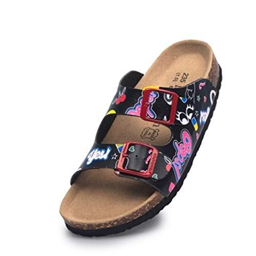 Frauen Slide Sandalen Open Toe Slip on Double verstellbare Schnallen Sandale Kork Fußbett Sommerschuhe Sofft Slip Heels