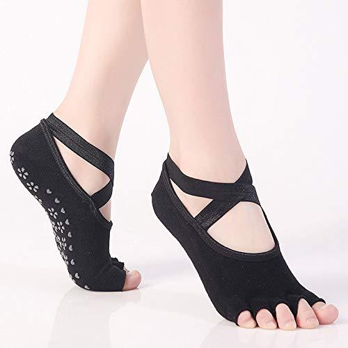Ogquaton Yoga-Socken für Frauen mit Grip u0026 Anti-Rutsch-Zehensocken für Ballett, Pilates, Barre, gekämmte Baumwolle, 2er-Pack, Schwarz Kreativ und nützlich