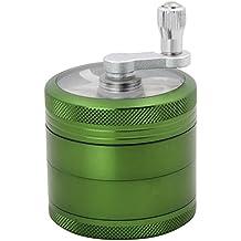 DCOU Grinder Molinillo Manual con Manivela de Aluminio Irrompible para Hierbas y Especias Atrapa Polen 4 partes 55mm 2.2 pulgadas Color Verde