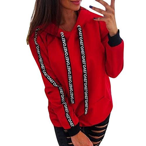 Riou Damen Kapuzenpullover Hoodie Pullover,Frauen Elegante Blusen Oberteil Sweatshirt Langarmshirt Outerwear Frauen Einfarbig Kleidung Hoodies Pullover Mantel Hoody Sweatshirt (4XL, Rot C)
