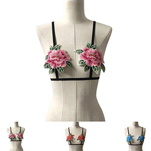 Biancheria intima femminile del reggiseno della biancheria di Bralette senza bretelle ricamata floreale delle donne Pink