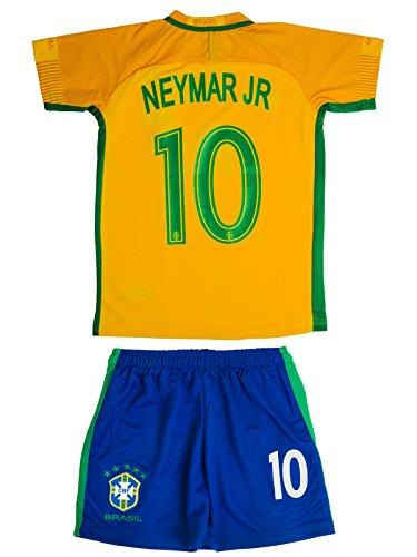 Brasilien #10 NEYMAR 2016/17 Heim Kinder Trikot und Hose (Uniform Kinder Fußball)