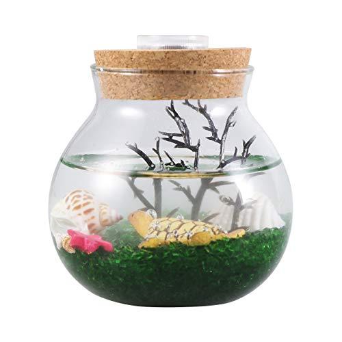 Balacoo Mini Aquarium Flasche Kreative Micro Landschaft Eco LED Nacht Farbe Lichter Tisch Dekor Geschenke Schildkröte S -