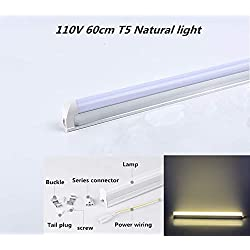 Ocamo Leds 60cm LED Tubo T5 Integrado Luz LED Tubo Fluorescente Lámpara de Pared,110V 48