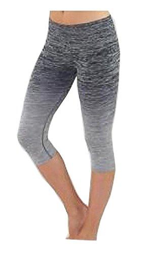 Harem Yoga lisse Leggings Collants de gym entraînement Capri Pantalon court pour femme gris
