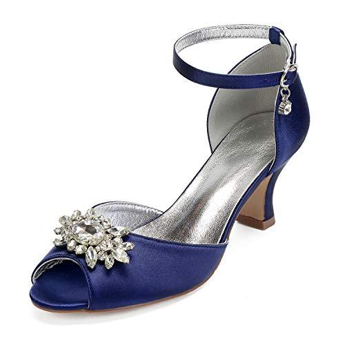 AIMISHOES Ladys Satin Kristall Brosche Abendkleid Schuhe Knöchelriemen Mit Schnalle Fersen Braut Hochzeit Prom Pumps,Dunkelblau,38 - Abendkleider Mit Kristallen