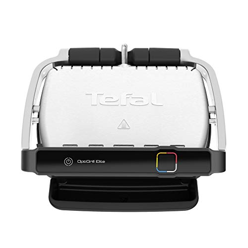 Tefal OptiGrill Elite GC750D 2000 - Barbacoa de contacto (acero inoxidable cepillado), color negro
