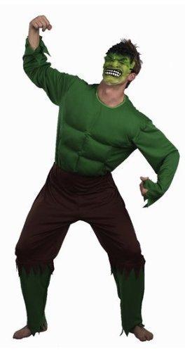 Fancy Me Herren Erwachsene Grün Giant Unglaubliche Hulk Muskel Super Hero Kostüm Kleid Outfit - Standard
