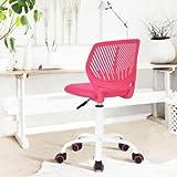 Carnation - Siege Chaise de Bureau Enfant en Tissu Dactylo en Tissu Ajustable avec Roulettes Rose