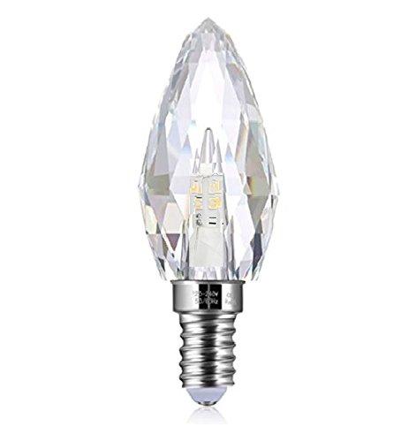 LED E14 4,3W Kristall - Leuchtmittel Bleikristall K9 warmweiß Kerze speziell designt für Kronleuchter und Lüster